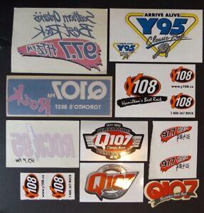 ORIGINAL-LOT-of-10-VINTAGE-RARE-CANADIAN-RADIO-STATION-WINDOW-STICKERS-DECALS