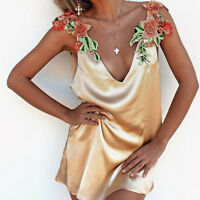 Sexy Women Deep V-neck Halter Mini Dress Party Cocktail Flower Loose Clubwear