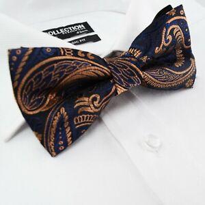 Homme-Pre-tied-Tisse-Solide-Bleu-Marine-Bronze-formel-classique-Bow-Tie-Paisley-24