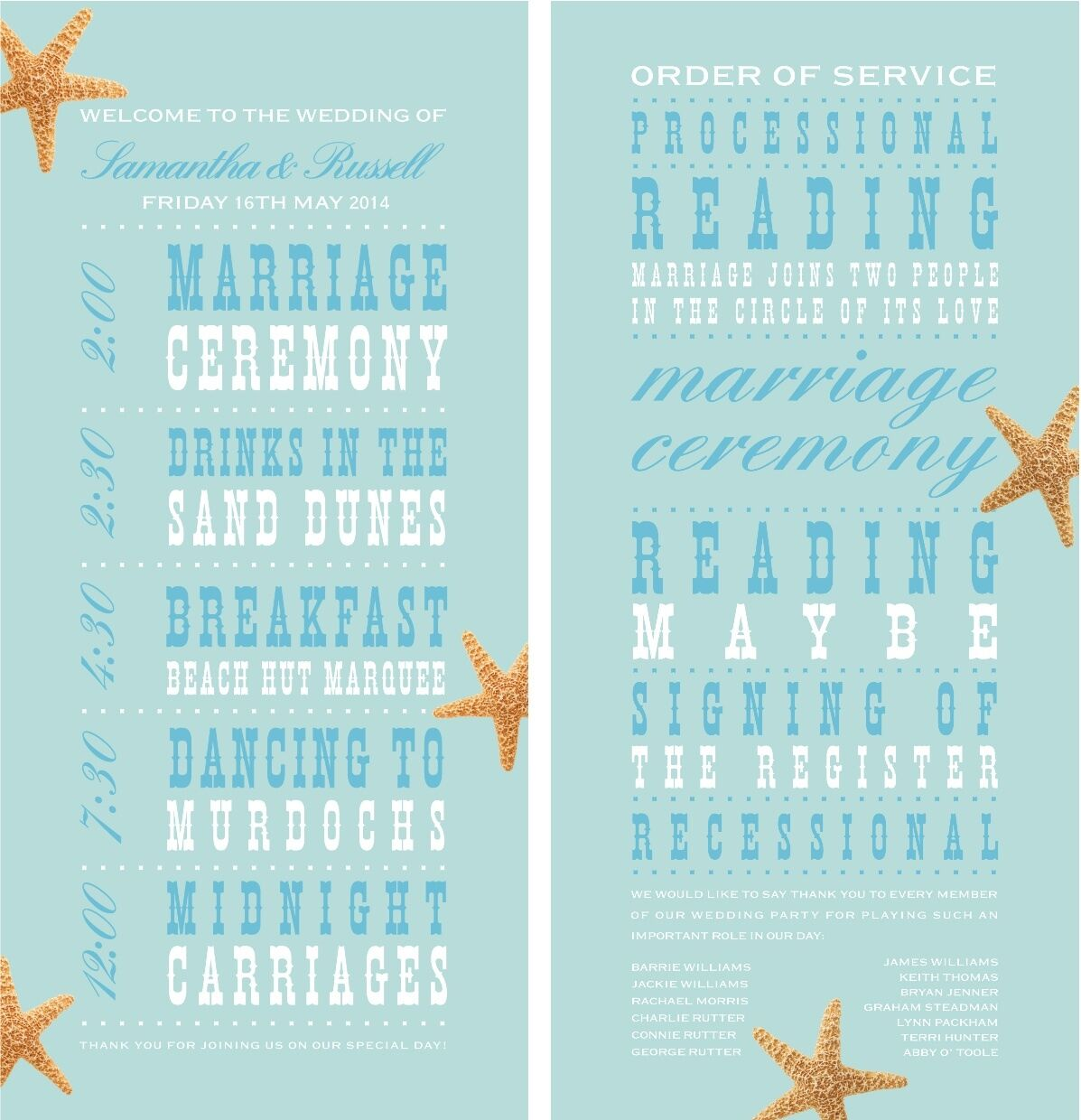 50 Personalised Beach Shell Star Fish Wedding Order of Service Cards