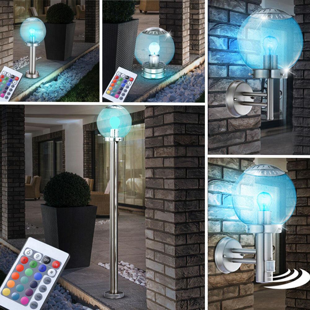 RGB LED Parojo Soporte Luces Regulable Control Remoto Acero Inox Cristal Exterior