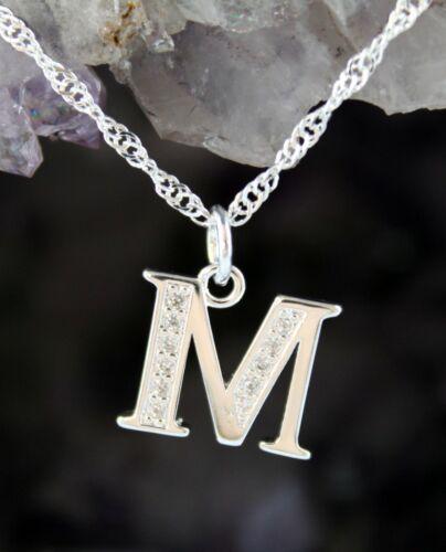 Halskette Buchstabe M Kette Initialen 925 Sterlingsilber silver plated