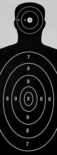 Paper Shooting Targets Black Silhouette Gun Pistol Rifle B-27 23x35