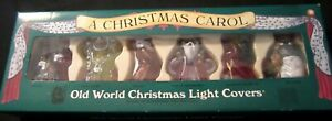 Dickens-A-Christmas-Carol-Old-World-Christmas-Six-Light-Covers-in-Original-Box