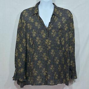 188a7399d44 Lane Bryant Black   Brown Floral Print Long Sleeve Flare Cuff Shirt ...