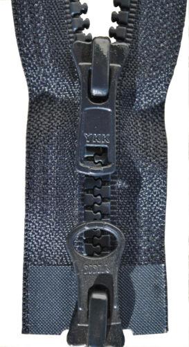 2 Weg Reißverschluß Kunststoff 8 mm schwarz blau  50-100 cm für Jacken u.ä.