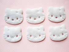30 Padded Kitty Cat Felt Head Applique/Bow/craft/trim/sewing/baby/cute H95-White