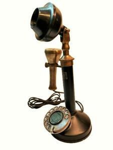 Bakelite-Brass-1940s-English-London-Phone-Candle-Stick-Antique-Telephone-TP-010