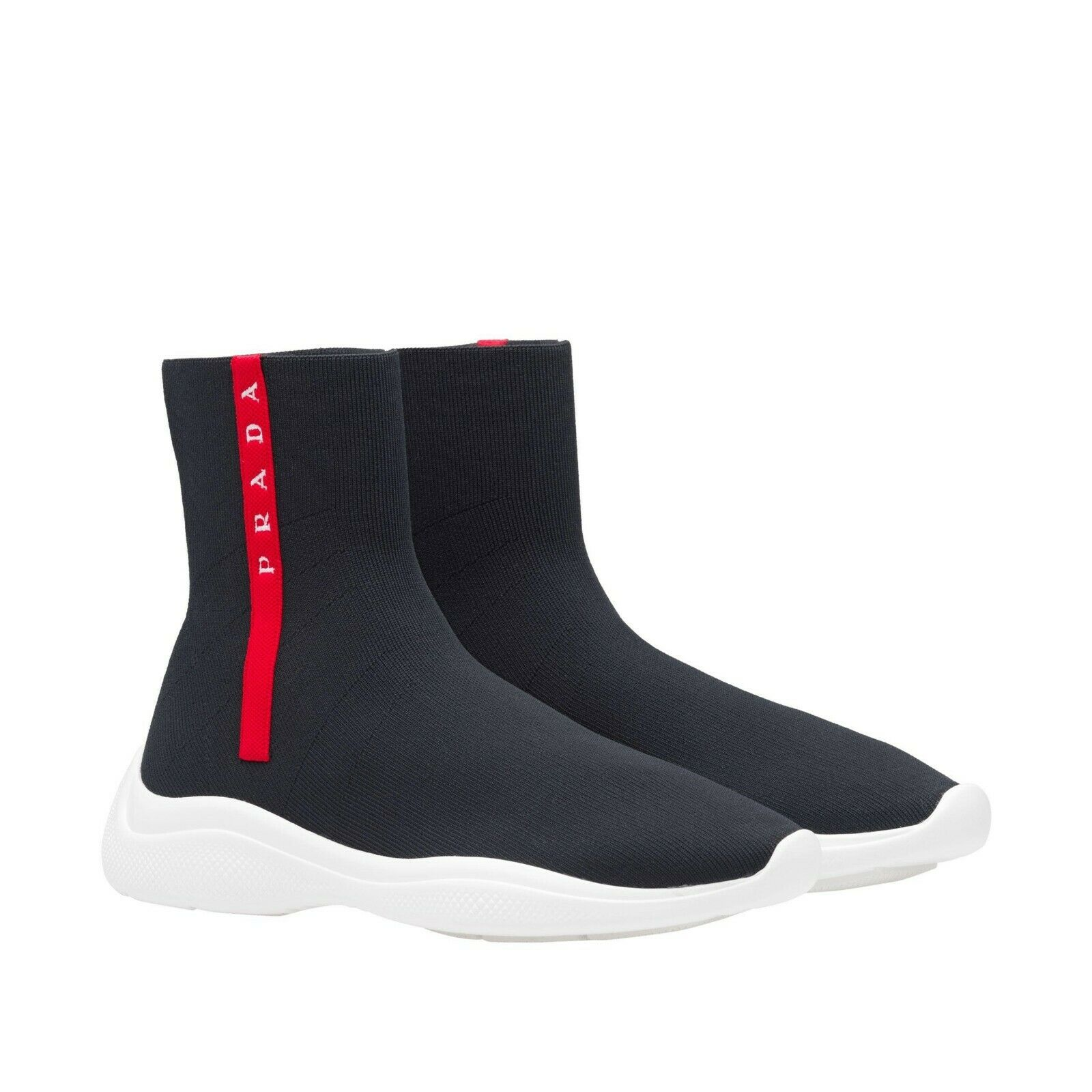 Autentic Autentic Autentic NIB  690 Prada Logo High -Top Sock stövlar skor SZ 7.5B   37.5 Italien  bästa valet
