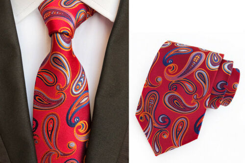 Lot 5 PCS Men/'s Tie Neckie 8cm Silk Paisley Jacquard Woven Neck Ties For Wedding