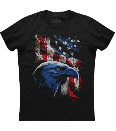 Military Men/'s Black T-shirt American Icon Bald Eagle And Flag Patriotic