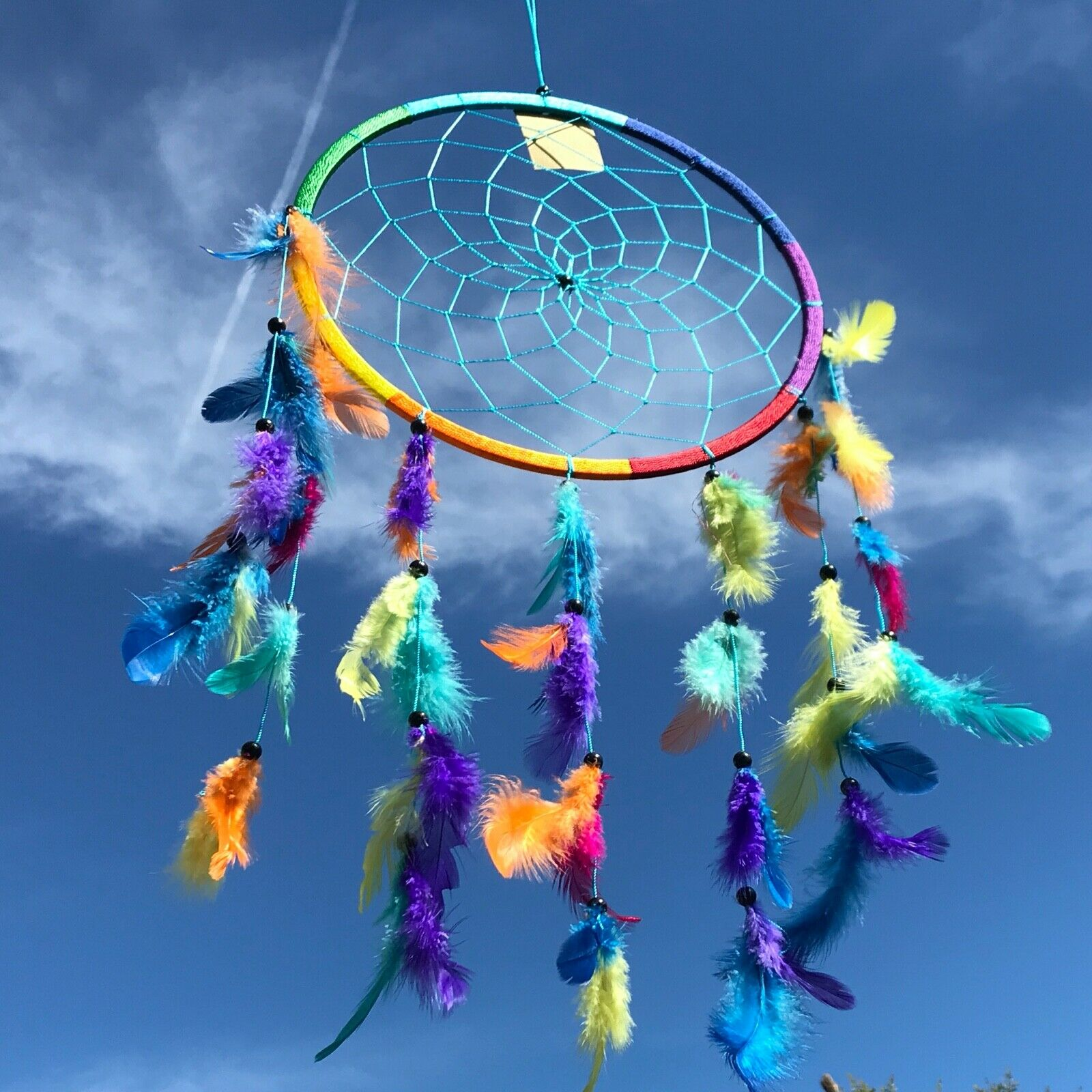 New Large Rainbow Dream Catcher Native American Wall Hanging Mobile Hippy Retro