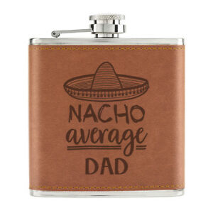 Nacho-Moyenne-Papa-170ml-Cuir-PU-Hip-Flasque-Fauve-Worlds-Best-Awesome-Peres-Day