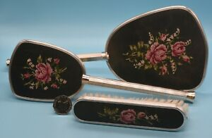 RARE VINTAGE PETIT POINT 3 PIECE BRUSH + MIRROR SET - ROSE & LILY OF THE VALLEY