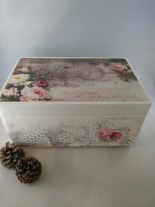 Details About Large Wooden Keepsake Box Memory Decoupage Shabby Chic Handmade
