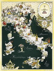 Details About Gourmet Map Of Italy Gastronomical Cuisine Food Italian Regions Wall Poster