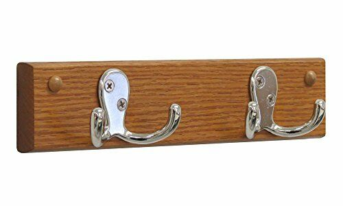 Wooden Mallet 40 Hook Wall Coat Rack Rail In Medium Oak And Nickel EBay Interesting Wooden Wall Coat Rack