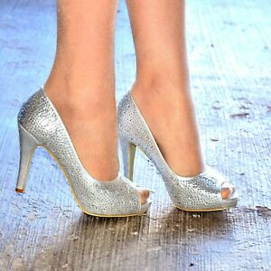 53c2efe6ecadf Details about Womens Diamante High Heel Occasion Shoes Peep Toe Party  Sparkly Wedding Size 3-8