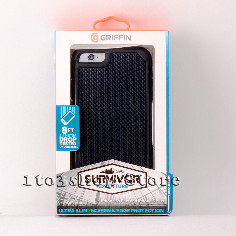 save off 5e699 39e45 Griffin Survivor iPhone 6 Plus iPhone 6s Plus Adventure Rugged Hard Case  Black