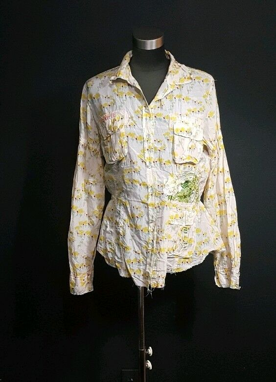 Anthropologie Gelb Field 8 Chrysanthemum Collection Floral Blouse Medium RFK