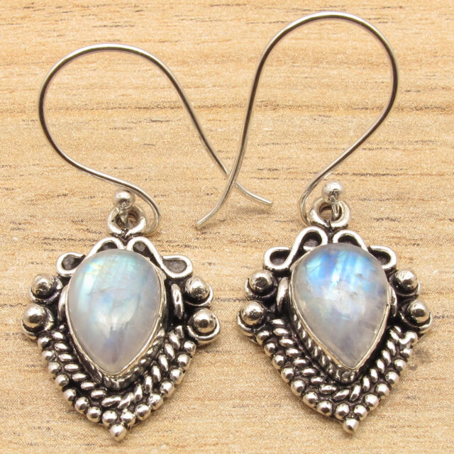 Natrural RAINBOW MOONSTONE Drop Gems Ethnic Little Earrings 925 Silver Plated