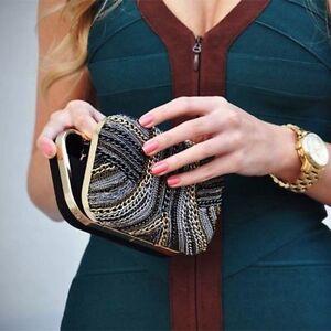 Zara Woman Chains Embellished Box Clutch Bag Ebay