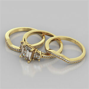 3.10 Ct Emerald Moissanite Engagement Trio Band Set 18K Solid Yellow Gold Size 4