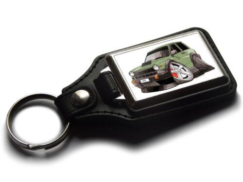 Koolart Cartoon Car Fiat Abarth A112 Leather and Chrome Keyring