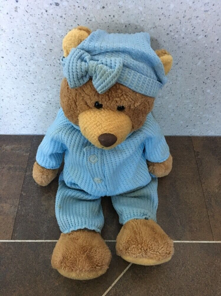 AURORA blueE SLEEPSUIT BETSY BEAR TEDDY 16  BABY SOFT HUG COMFORTER TOY