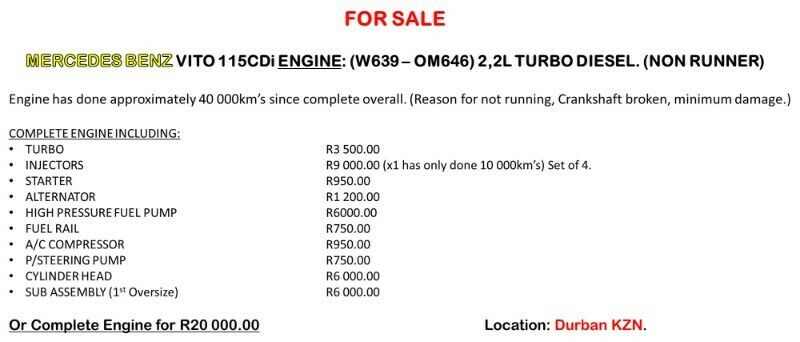 Mercedes Benz Vito 115Cdi ENGINE (W639-OM646)2,2L Turbo Diesel. (NON-RUNNER)** Selling for spares