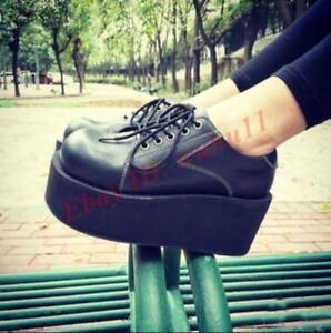 Chic-Womens-Crepper-Platform-High-Wedge-Gothic-Casual-Lace-Up-Shoes-Round-Toe