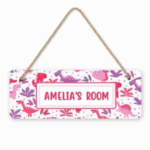 Personalised Custom Pink Dinosaurs Girls Kids Children/'s Room Door Hanger Sign