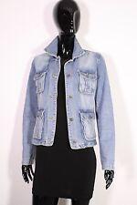 T13-1 H&M Logg Damen Jeans Jacke Denim Jacket Gr. 38 blau Used Look Safari-Look