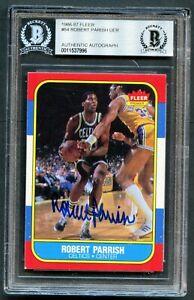 Robert-Parish-84-signed-autograph-1986-87-Fleer-Basketball-Card-BAS-Slabbed