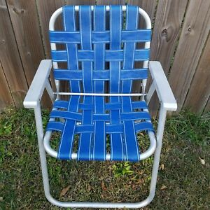 Image Is Loading Vintage Lawn Chair Aluminum Blue White Folding Foldable