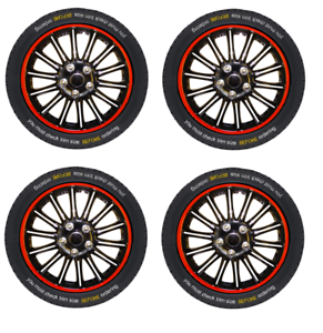 14-Inch-Sport-Wheel-Trim-Set-Black-Red-Pinstripe-Set-of-4-Hub-Caps