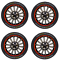 14-Inch-Sport-Wheel-Trim-Set-Black-Red-Pinstripe-Set-of-4-Hub-Caps thumbnail 1