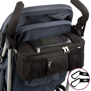 BTR Buggy Organiser Storage Bag for Prams, Mobile Phone Pocket Holder. Black