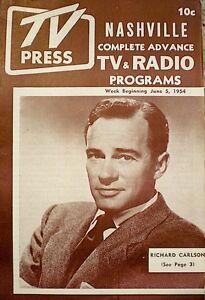 TV-Guide-TV-Press-1954-Nashville-Regional-Richard-Carlson-Magazine-Programs-Rare