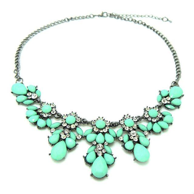 Fashion Charm Crystal Flower Pendant Choker Chunky Statement Bib Chain Necklace