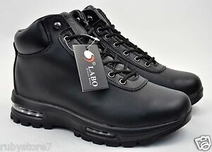 LABO Men s Black Hiking Winter Snow Boots Shoes Leather Air Heel ... 1c06e041bc85