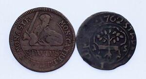 Deutsche-States-Menge-von-2-Muenzen-1740-3-Pfennig-VF-und-1762-21-Heller-F