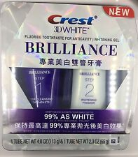 NEW Crest 3D White BRILLIANCE Fluoride Toothpaste for Anticavity & Whitening Gel