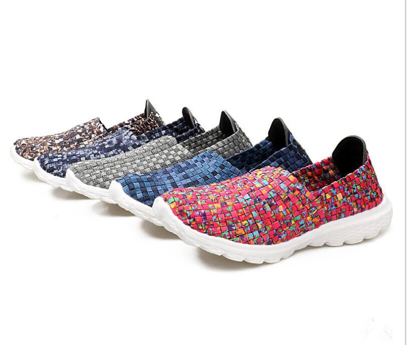 Fashion Women's Sports Running shoes Lightweight Woven Sneaker Slip-on shoes New
