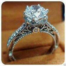 Vintage Engagement Wedding Ring 2.19 Ct Round Diamond Unique Fine 14k White Gold