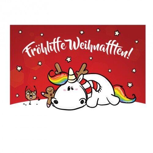 quer Pummeleinhorn Postkarte - X-Mas Fröhliffe Weihnafften! rot