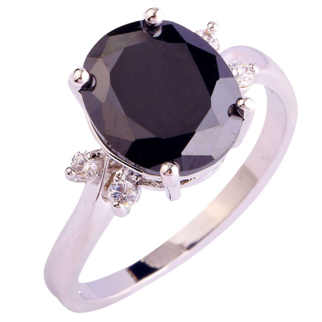 Charming Black Spinel White Topaz Gems Silver Jewelry Ring Size 6 7 8 9 10 11 12