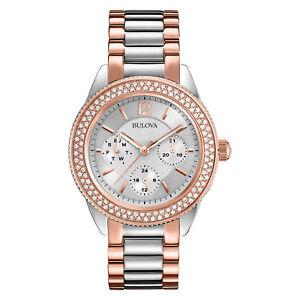 Bulova Women's 98N100 Swarovski Crystals Quartz Rose Gold and Silver 38mm Watch