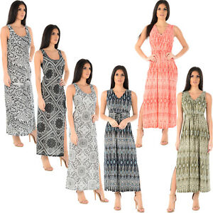 LADIES-WOMENS-MAXI-DRESS-SHEERING-SHIRRED-SUMMER-BEACH-PARTY-CASUAL-LONG-TOP