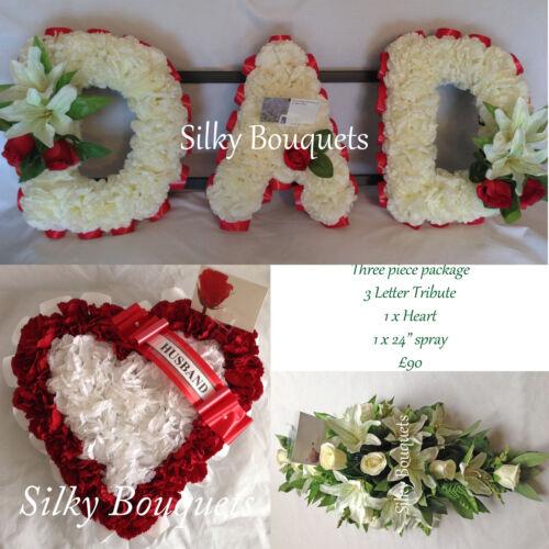 Dad Artificial Silk Funeral Flower Tribute Grandad Dad Heart Spray Package Son